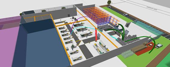 Logistikplanung und Materialflussplanung einer Fabrik